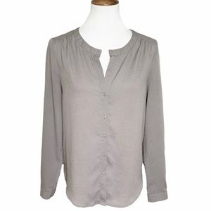 Urban Outfitters V Neck Button Front Gray Blouse